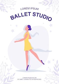 Modello piatto del manifesto dello studio di balletto. bellissimo tipo di ballo.