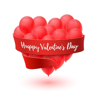 Ballons a forma di cuore con nastro rosso isolato su bianco
