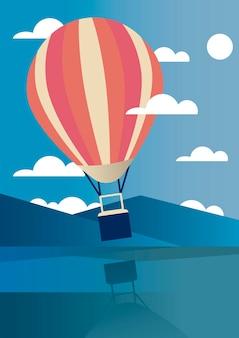 Aria calda dell'aerostato che viaggia nel disegno dell'illustrazione di vettore di scena del paesaggio del lago aventure