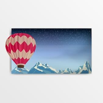 Palloncino su uno sfondo di montagne innevate. banner vettoriale