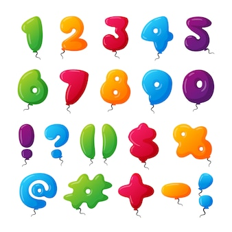 Set di numeri di palloncini.