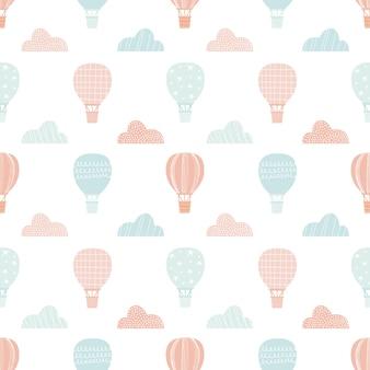 Modello di palloncino. nuvole carine. sfondo senza soluzione di continuità minimalista. stampa per bambini. stile scandinavo. tavolozza di colori nudi. sfondo bianco. illustrazione vettoriale, disegnata a mano
