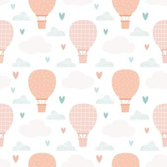 Modello di palloncino. elementi stilizzati. simpatica stampa per bambini per tessuti. design minimalista. stile scandinavo. illustrazione vettoriale, disegnata a mano