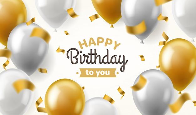 Compleanno di palloncini. congratulazione felice che celebra il manifesto dell'insegna del pallone d'argento dell'oro brillante del partito di lusso di anniversario, modello