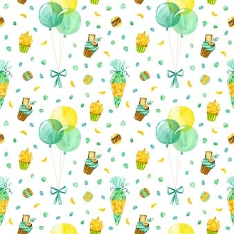 Palloncini coriandoli cupcake e amaretti reticolo senza giunte dell'acquerello sfondo di compleanno