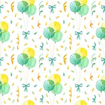 Reticolo senza giunte di palloncini e coriandoli acquerello compleanno sfondo