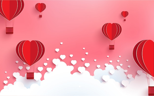 Palloncini sotto forma di amore in un giorno pieno di amore