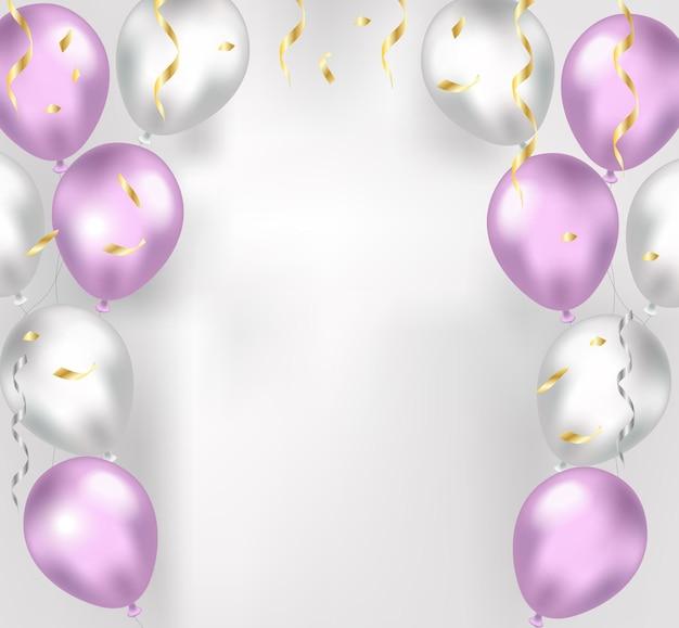 Palloncini su uno sfondo bianco. decorazioni natalizie 3d realistiche, coriandoli per compleanno, festa.
