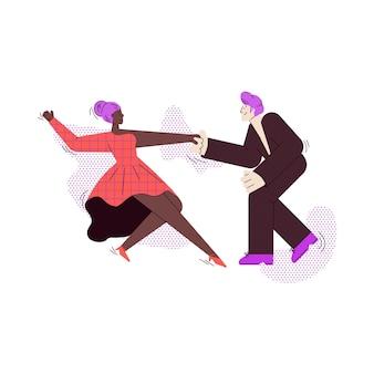 Ballerini da sala uomo e donna coppia fumetto piatto illustrazione vettoriale isolato