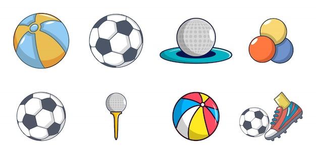 Set di icone di palle. l'insieme del fumetto delle icone di vettore delle palle ha messo isolato