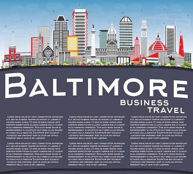 Orizzonte di baltimora con edifici grigi, cielo blu e spazio di copia. illustrazione di vettore. viaggi d'affari e concetto di turismo con architettura moderna. immagine per presentazione banner cartellone e sito web.