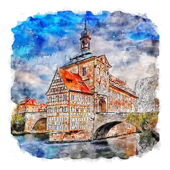 Illustrazione disegnata a mano di schizzo ad acquerello di bamberg germania