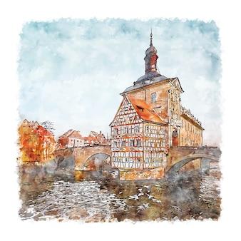 Illustrazione disegnata a mano di schizzo dell'acquerello di bamberg germania
