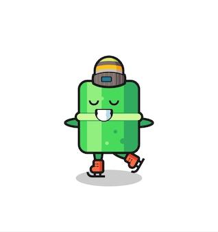 Cartone animato di bambù come un giocatore di pattinaggio sul ghiaccio che si esibisce, design in stile carino per maglietta, adesivo, elemento logo