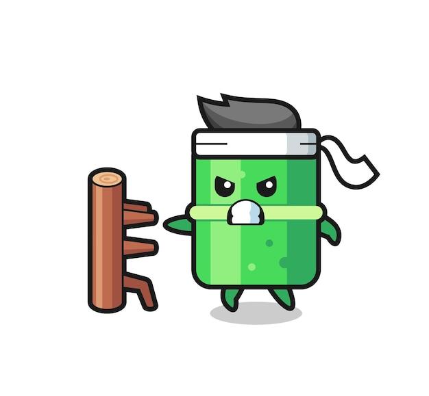 Illustrazione di cartone animato di bambù come combattente di karate, design in stile carino per maglietta, adesivo, elemento logo