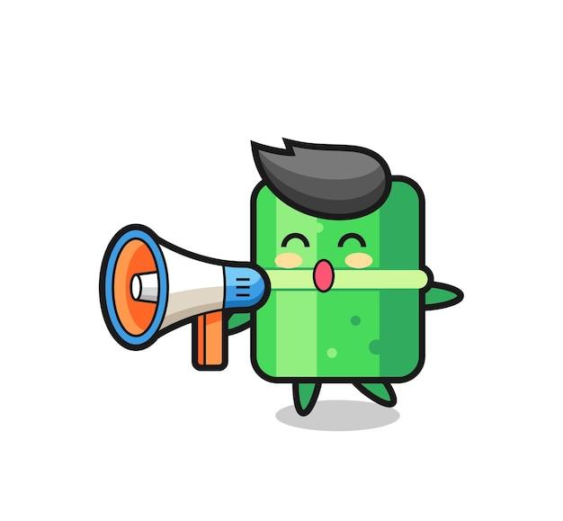 Illustrazione del personaggio di bambù che tiene un megafono, design in stile carino per maglietta, adesivo, elemento logo
