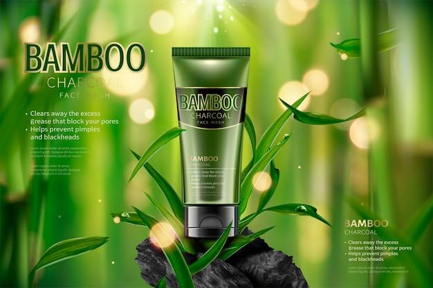 Annunci di lavaggio del viso al carbone di bambù, tranquilla scena della foresta di bambù con foglie e carbone