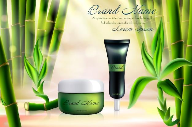 Illustrazione di cosmetici di bambù. contenitore realistico del tubo del prodotto crema per la cura della pelle del viso, modello di cosmetologia con ingrediente biologico tropicale, bastoncini di bambù verde e sfondo di foglie