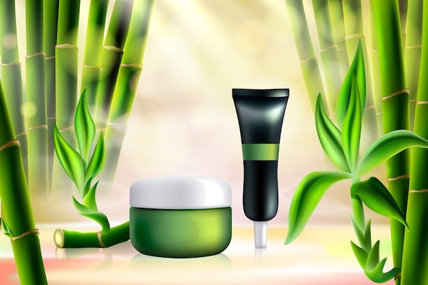 Illustrazione di cosmetici di bambù.