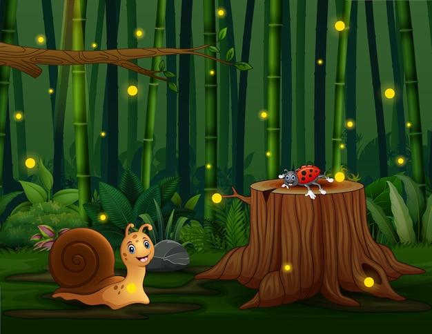 Uno sfondo di foresta di bambù con illustrazione di insetti