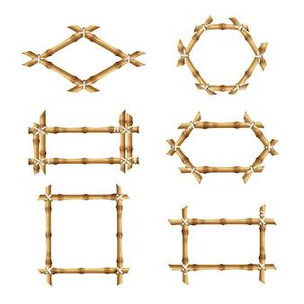 Cornici in bambù. collezioni di vettore di bastone di bambù modello banner asiatico rustico in legno. illustrazione cornice di bambù con corda, spazio vuoto