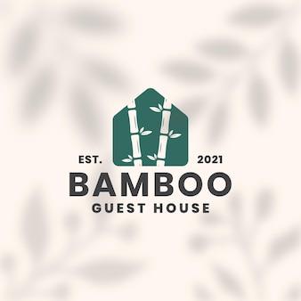Modello di logo di bambù guest house