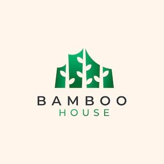 Modello di logo della casa di bambù