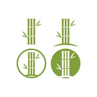 Progettazione dell'illustrazione dell'icona di vettore del modello di logo di bambù Vettore Premium