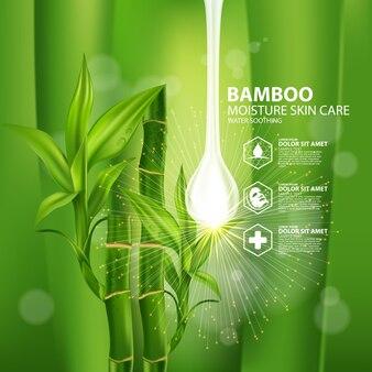 Cosmetico per la cura della pelle con piante realistiche di bambù