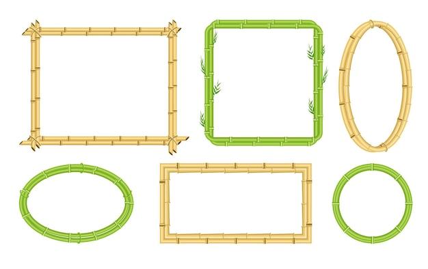 Bastone di bambù bordo ornato cornice o set layout di cartello. modello di modulo pubblicitario da stelo di canna con spazio vuoto in bianco copia diversa forma illustrazione vettoriale isolato su sfondo bianco