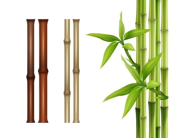 Bastoncini di bambù isolati su priorità bassa bianca.