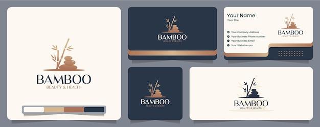 Pietra di bambù, spa, equilibrio, biglietto da visita e design del logo