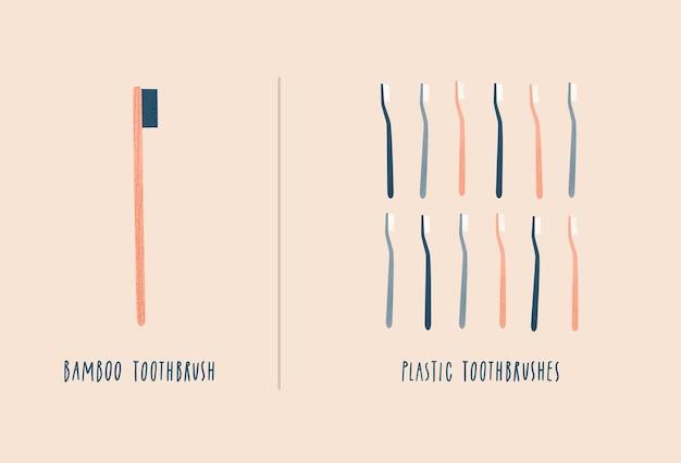Spazzolino da denti in bambù vs spazzolini da denti in plastica zero sprechi
