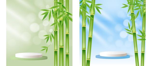 Piedistallo del palco del podio delle foglie dell'albero di bambù per lo sfondo dell'esposizione del prodotto