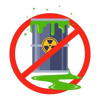 Divieto di scorie nucleari. barile di veleno che perde. piatto