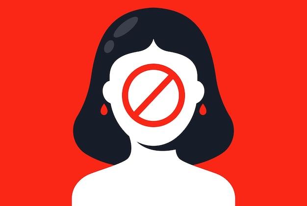 Divieto di foto per le donne. discriminazione di genere. illustrazione vettoriale piatta
