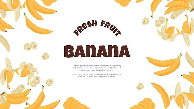 Bandiera della banana. frutta tropicale gialla del fumetto sbucciata e singola su volantino piatto che promuove una sana alimentazione vegana. poster di illustrazione vettoriale con banane fresche