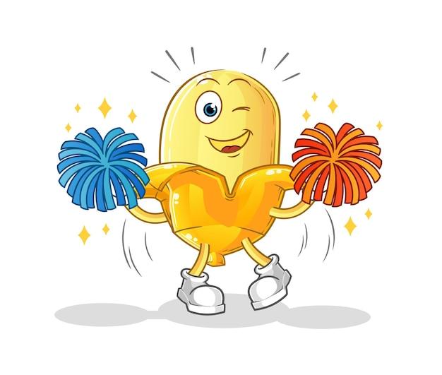 Il cartone animato di banana cheerleader. mascotte dei cartoni animati