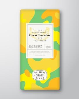 Layout di progettazione di imballaggi di forme astratte di forme astratte di etichetta di cioccolato alla banana