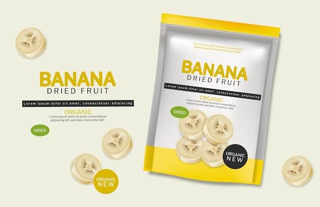 Frutta organica secca banana vettore realistico. pubblicizza i mock up dei banner