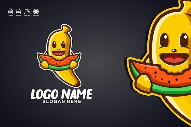 Banana che mangia anguria simpatica mascotte personaggio logo design