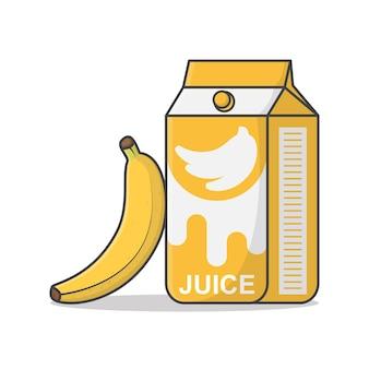 Scatola di succo di banana con illustrazione di banane.