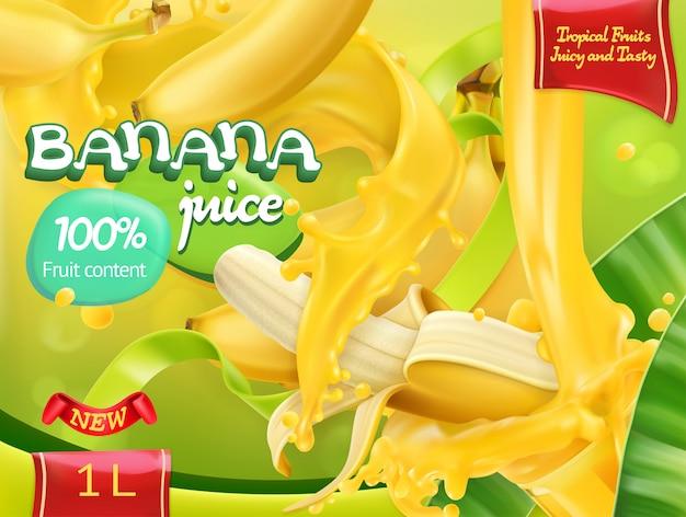 Succo di banana dolci frutti tropicali. 3d realistico, design del pacchetto