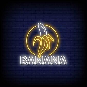 Testo di stile di insegne al neon di banana