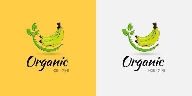 Logo di frutta biologica banana per negozio di frutta