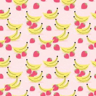Modello senza cuciture di banana e fragola. Vettore Premium