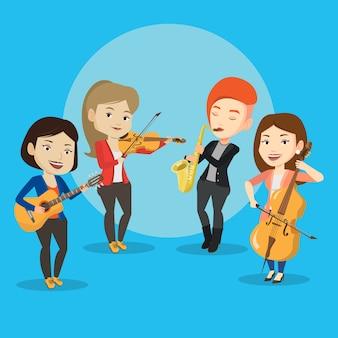 Banda di musicisti che suonano strumenti musicali.