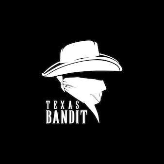 Bandit cowboy gangster simbolo logo design ispirazione