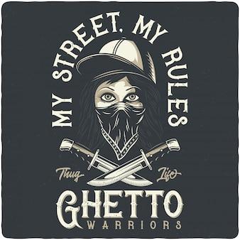 Ragazza bandita con bandana, cappello e coltelli