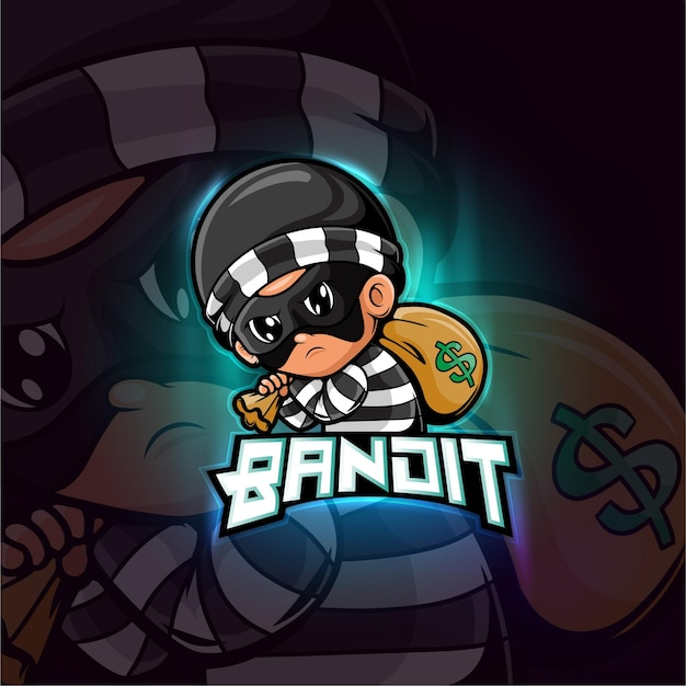 Bandit mascotte esport logo design